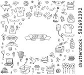 hand drawn doodle donation... | Shutterstock .eps vector #582692392