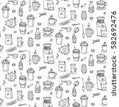 seamless background hand drawn... | Shutterstock .eps vector #582692476