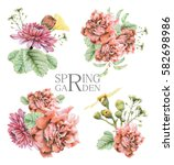 set of compositions with spring ... | Shutterstock . vector #582698986