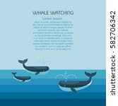 whale family. arctic scene with ... | Shutterstock .eps vector #582706342