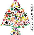 colorful christmas tree of kids | Shutterstock .eps vector #58270669