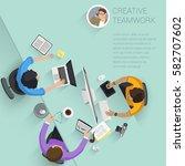 set of top view flat design... | Shutterstock .eps vector #582707602