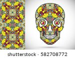 day of the dead colorful sugar... | Shutterstock .eps vector #582708772