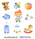 set of 9 toys and accessories... | Shutterstock .eps vector #58271476