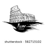 coliseum in rome  italy.... | Shutterstock .eps vector #582715102