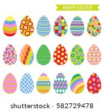 easter eggs set with bright...   Shutterstock .eps vector #582729478