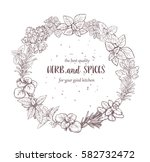 herbs and spices label.... | Shutterstock .eps vector #582732472