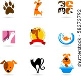 Stock vector cats dogs and other pet icons 58273792