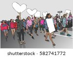 illustration of marching crowd... | Shutterstock .eps vector #582741772
