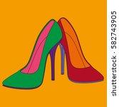 stiletto high heels. pop art... | Shutterstock .eps vector #582743905