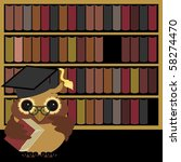nive owl with books | Shutterstock .eps vector #58274470