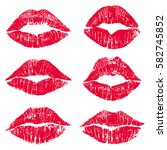 female lips lipstick kiss print ... | Shutterstock . vector #582745852