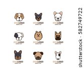 illustration of cute dog logo... | Shutterstock .eps vector #582749722