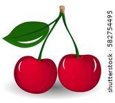 vector ripe red cherry berries... | Shutterstock .eps vector #582754495
