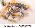 wooden bowl with petals of... | Shutterstock . vector #582761758