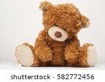 Sad Brown Teddy Bear Isolated...