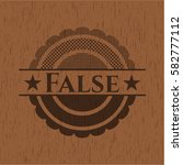 false badge with wooden... | Shutterstock .eps vector #582777112