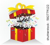 happy birthday text in gift box ... | Shutterstock .eps vector #582779122