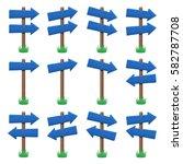 vector set of wooden arrow... | Shutterstock .eps vector #582787708