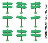vector set of wooden arrow... | Shutterstock .eps vector #582787762