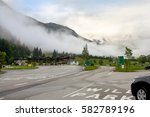 the road  crossroad  fog  empty ... | Shutterstock . vector #582789196