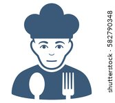 sad cook glyph icon. flat blue... | Shutterstock . vector #582790348
