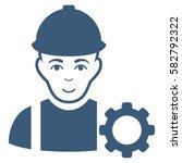repairman glyph icon. flat blue ... | Shutterstock . vector #582792322