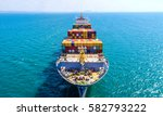 container ship in export and... | Shutterstock . vector #582793222