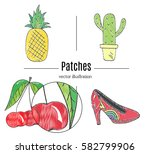 patch badges  embroidery with... | Shutterstock .eps vector #582799906