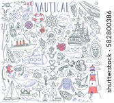 nautical vector drawings... | Shutterstock .eps vector #582800386