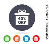 40  sale gift box tag sign icon.... | Shutterstock .eps vector #582809716