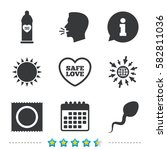 safe sex love icons. condom in... | Shutterstock .eps vector #582811036