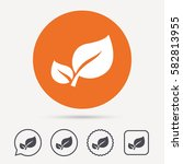 leaf icon. fresh organic... | Shutterstock .eps vector #582813955