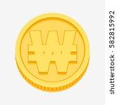korean won symbol on gold coin  ... | Shutterstock .eps vector #582815992