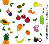 tropic fruits seamless pattern. ... | Shutterstock .eps vector #582816712