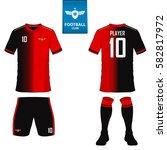 set of soccer kit or football... | Shutterstock .eps vector #582817972