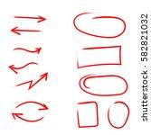 set of hand drawn arrows ... | Shutterstock .eps vector #582821032