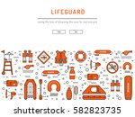Lifeguard Flat Outline Icons...