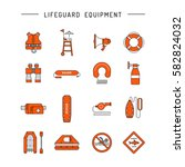 lifeguard flat outline icons... | Shutterstock .eps vector #582824032