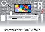 modern bright room with flat tv ... | Shutterstock . vector #582832525