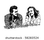 summer of love   couple on... | Shutterstock .eps vector #58283524