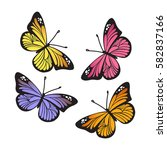 Stock vector stylized monarch butterflies isolated on white background set abstract colored butterfly 582837166