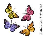 stylized monarch butterflies... | Shutterstock .eps vector #582837166