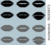 lips black and grey twelve... | Shutterstock .eps vector #582838372