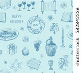 a seamless pattern of passover. ... | Shutterstock .eps vector #582842236