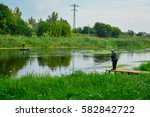 morning fishing on the river  ... | Shutterstock . vector #582842722