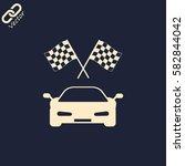 car and finishing flag | Shutterstock .eps vector #582844042