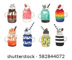 set of fruit and chocolate...   Shutterstock . vector #582844072
