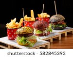 gourmet burgers with a french...   Shutterstock . vector #582845392