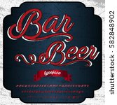 bar beer font handcrafted... | Shutterstock .eps vector #582848902